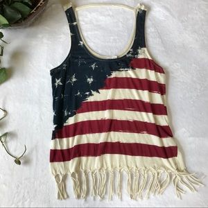 Others Follow American Flag Fringed Tank Top